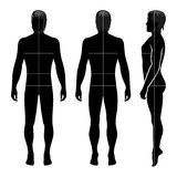 Fashion man figure. Fashion man full length template figure silhouette with marked bodys sizes lines front, side & back view, vector illustration  on white Stock Photography