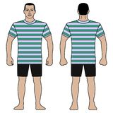 Fashion man figure and t shirt design with striped pattern royalty free stock image