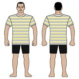 Fashion man figure and t shirt design with striped pattern stock photo