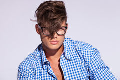 Fashion man with hair on face Royalty Free Stock Photography
