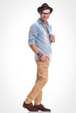 Fashion man holding one hand in his pocket. Stock Photography
