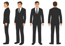 Fashion man isolated, front, back and side view,. Vector illustration, businessman in suit Royalty Free Stock Photography