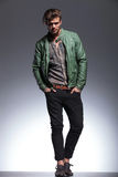 Fashion man in leather jacket posing Royalty Free Stock Image