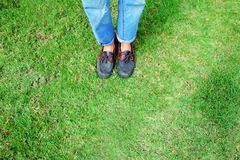 Fashion Man is Legs in Blue Jeans and Wear Vintage Shoes on Green Grass Background. Great for Any Use Stock Photo