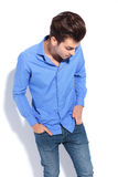 Fashion man looking down Stock Images