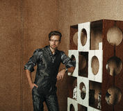 Fashion Man in luxury modern interior Stock Images