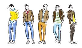 Fashion man. Fashion men sketches on a white background. Autumn men stock illustration