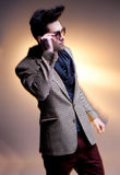 Fashion man model dressed casual posing dramatic Stock Photo