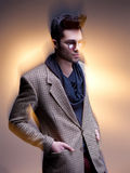Fashion man model dressed casual posing dramatic Stock Images