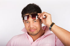 Fashion man model with sunglasses Royalty Free Stock Image