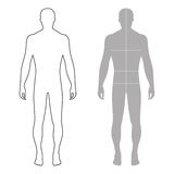 Fashion man outlined template figure silhouette with marked body. Fashion man full length outlined template figure silhouette with marked body's sizes lines ( Stock Photography