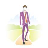 Fashion man park outdoor, male model wear suit Stock Photos