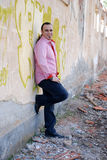 Fashion , Man in pink  shirt smiling Royalty Free Stock Photos