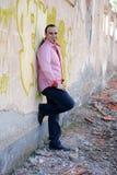 Fashion , Man in pink shirt smiling royalty free stock photos