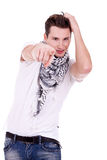 Fashion man pointing to the camera Royalty Free Stock Images
