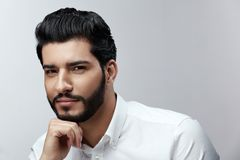 Fashion Man Portrait. Male Model With Hair Style And Beard. Handsome Man With Beauty Face. High Resolution stock images