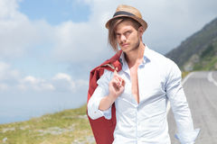 Fashion man posing outdoor Royalty Free Stock Photography