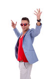 Fashion man in red sunglasses Stock Photo