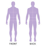 Fashion man's figure. Fashion man's solid template figure silhouette (front & back view) with marked body's sizes lines, vector illustration isolated on white Royalty Free Stock Images