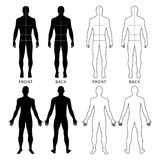 Fashion man's figure. Fashion man's solid template figure silhouette (front & back view) with marked body's sizes lines, vector illustration isolated on white royalty free illustration