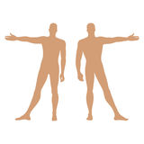 Fashion man's solid template figure silhouette (front & back vie Royalty Free Stock Image