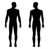 Fashion man's solid template figure silhouette (front & back vie Royalty Free Stock Photo