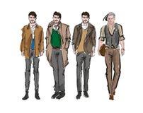 Fashion man. Set of fashiona mens sketches. On a white background. Autumn men stock illustration