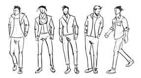 Fashion man. Set of fashionable men`s sketches. On a white background. Spring men vector illustration