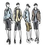 Fashion man sketch. Fashion man. Set of fashionable men`s sketches on a white background. Summer men Royalty Free Stock Photos