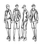 Fashion man. Set of fashionable Spring men`s sketches. Fashion man. Set of fashionable men`s sketches on a white background. Spring men Royalty Free Stock Photography
