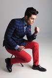 Fashion Man Sitting On A Stool, Thinking Stock Photos