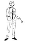 Fashion man in a suit with a rose in his hand. Illustration,black and white,art,outline Royalty Free Stock Image