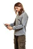 Fashion man using pc tablet browsing internet. Royalty Free Stock Photos