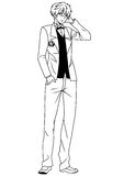 Fashion man wearing a dinner jacket. Illustration,black and white,art,outline Royalty Free Stock Image