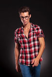 Fashion man wearing glasses walking forward Stock Photos