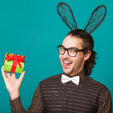 Fashion man wearing rabbit ears Royalty Free Stock Photography