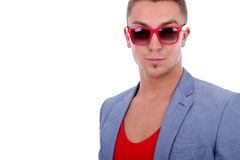Fashion man wearing red sunglasses Royalty Free Stock Images