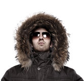 Fashion man in winter jacket. Isolated on white Royalty Free Stock Photography