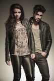 Fashion man and woman in leather clothes Stock Photo
