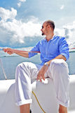 The fashion man on yacht. Royalty Free Stock Photos