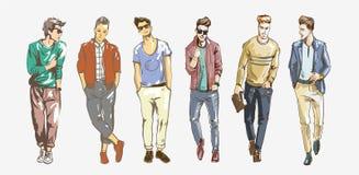 fashion mannen Samlingen av trendiga män s skissar på en vit bakgrund Tillfällig modeillustration för män vektor illustrationer