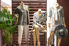 Fashion Mannequin Display. Three fashion mannequin window display with contemporary casual wear Royalty Free Stock Image