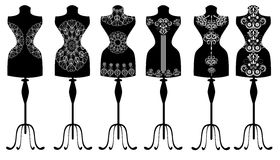 Fashion mannequin set. Isolated black white swirl Royalty Free Stock Photography