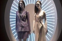 Fashion mannequin showcase display shopping retail. Fashion showcase display shopping retail mlothing stock image