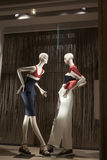 Fashion mannequin showcase display shopping retail. Fashion showcase display shopping retail mlothing royalty free stock photos