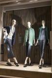 Fashion mannequin showcase display shopping retail. Fashion showcase display shopping retail mlothing stock photo