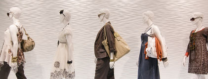 Fashion mannequins in window stock photo