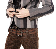 Fashion men pants, a shirt. With the white background royalty free stock image