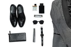 Top view in men`s style, fashion, clothing and style stock photo