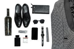 Top view in men`s style, fashion, clothing and style royalty free stock image